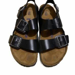 Birkenstock   Milano Black Sandals - Soft Footbed